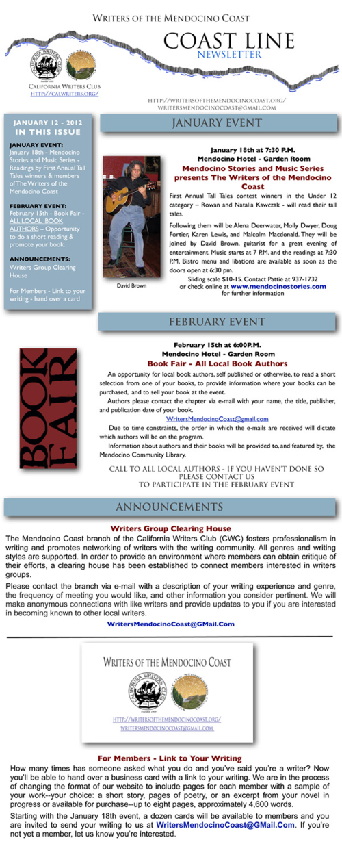Writers of the Mendocino Coast - January Newsletter 2012