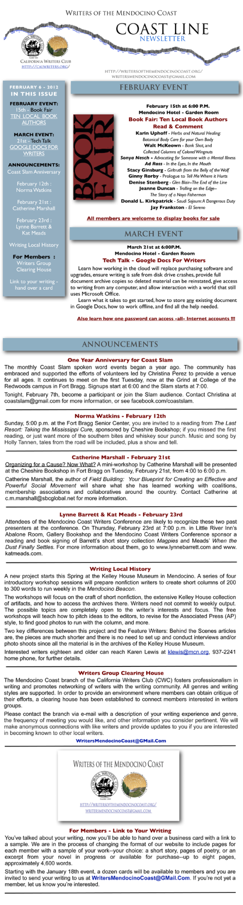 Writers of the Mendocino Coast - February Newsletter - 2012